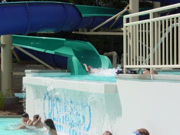 Falls with logo and waterslides