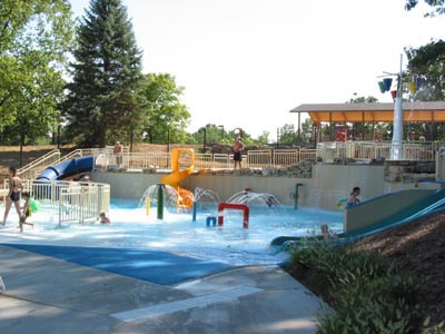 Photo of toddler waterslide, play area.
